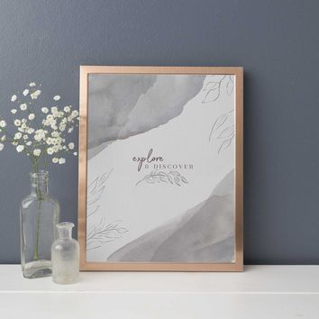 Explore + Discover Modern Watercolor Wanderlust Quote Wall Art Print