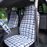 1 Set of Anchor Print Car Seat Covers and Steering Wheel Cover Custom Made.