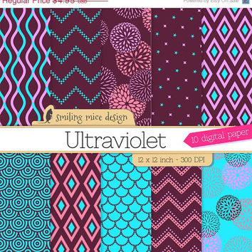 80% OFF SALE Ultraviolet Digital Paper/ digital scrapbooking paper