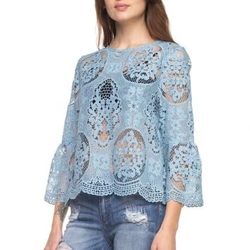 Dusty Blue Lace Bell Sleeve Top