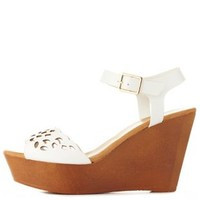 White Scalloped Laser Cut-Out Wedges by Charlotte Russe