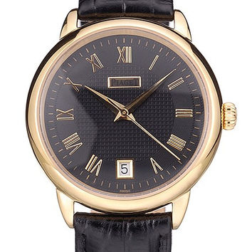 Piaget Swiss Traditional Black Dial Black Leather Strap 7628