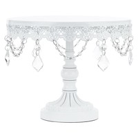 10 Inch Crystal-Draped Round Metal Cake Stand (White)