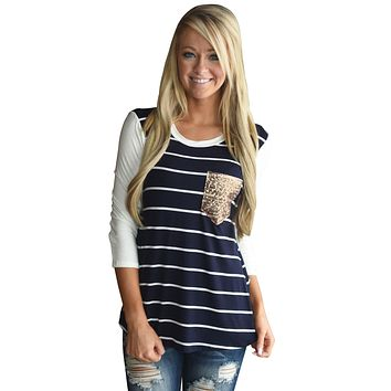 Chicloth Navy White Stripe Sequin Pocket Top