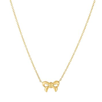 14K Extension Yellow Gold Shiny 8x13mm Bow  Pendant Anchored on 1.1mm Cable Link Necklace wit h Lobster Clasp