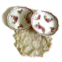Antique Vintage Haviland Limoges Porcelain Rose Tea Bag Holder, Spoon Rest France Set of 2
