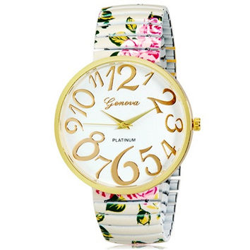 Women's Fashionable Platinum Analog Wrist Watch with Flower Pattern Metal Band (White)