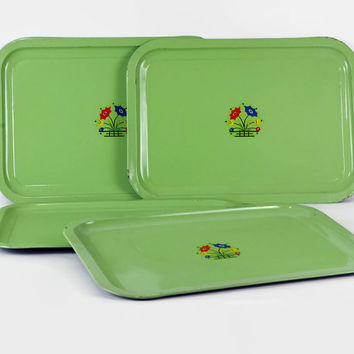 Vintage Tin Tray, Green Metal Trays, Floral Decal, 1930s Art Deco, Set of Four, Cottage Decor