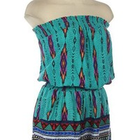 G2 Chic Women's Aztec Print Tube Top Romper