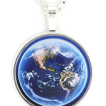 Planet Earth Globe Necklace Silver Tone NV37 Outer Space Orbit World Photo Pendant Fashion Jewelry