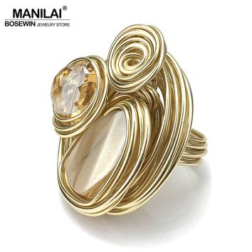 MANILAI Boho Handmade Big Champagne Crystal Rings For Women Fashion Jewelry Gold Color Wire Helical Wound Beads Finger Ring