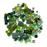 Green Mix of Glass Beads and Aventurine Beads,Bead Soup, 110 Pieces