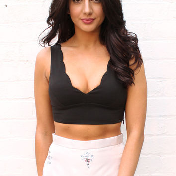 Dip It Low V-neck Scallop Edge Bralet Crop Top in Black