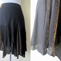 two-toned black and gold asymmetrical skirt (small)