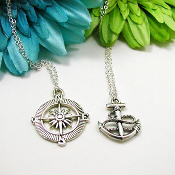 Two Nautical Charm Necklaces - Compass and Anchor Necklaces - Compass Charm - Anchor Charm - Nautical Necklaces - Best Friend Necklace Set
