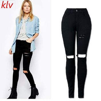 Women Cool Ripped Knee Cut Skinny Long Jeans Pants Hole Pants Shorts Binding Side Elastic Waist Shorts Sexy Girl