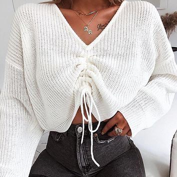 Autumn and winter new fashion V-neck drawstring sweater long sleeve casual shirt women's clothing White