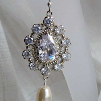 Bridal Earrings Ivory Swarovski Pearl CZ Earrings - Bianca E7 Wedding Jewelry Edwardian Charm