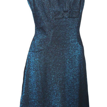 "Vintage Blue Sparkle Glitter Metallic New Year's Eve Dress | Women's Size  Small, 28"" Waist 