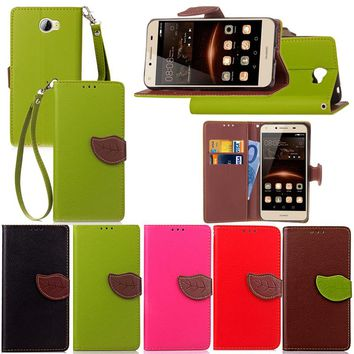 For Huawei Y5c Luxury Leather Cover Flip Wallet Phone Case For Huawei Y5 II With Leaves Buckle And Lanyard Mobile Phone Shell