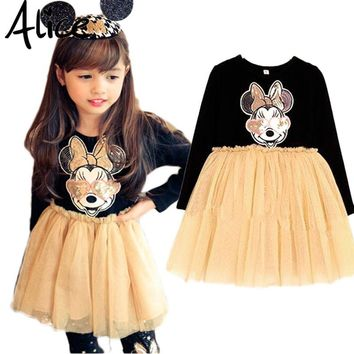2016 Autumn Long-sleeved Dress Girls Sequined Minnie Mouse Party Fashion Princess Dress Tutu Veil Cartoon Children's Clothes