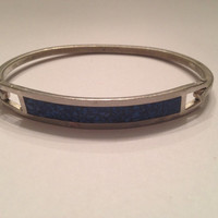 Vintage Lapis Inlay Sterling Silver Bracelet 925 12 grams Mexican Jewelry