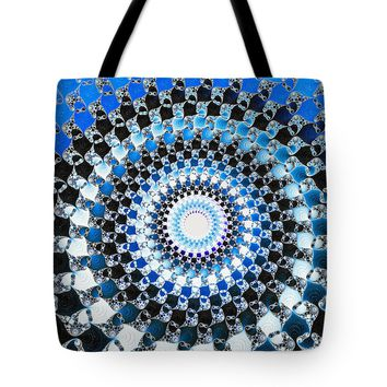 Blue Black And White Abstract Spiral Tote Bag