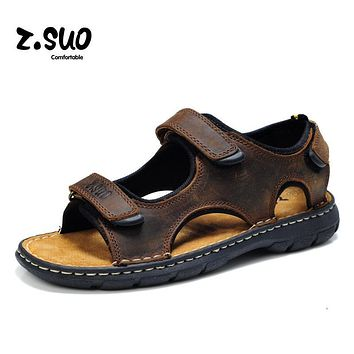 Z.Suo Brand 2017 Summer Cool Genuine Leather Men Sandals High Quality Ankle-Wrap Sandals Hook&Loop Fashion Slides Beach Slippers