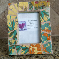 mosaic picture frame - glass - 4 x 6 picture frame - tropical - floral - recycled dishes - recycled china - recycled frame