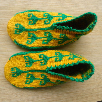 Women's yellow and green colour hand knitted unique Turkish Anatolian warm slipper socks, slippers,  warm house socks.