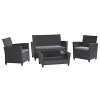 4-Piece Outdoor Patio Furniture Set in Grey Resin Wicker and Cushions