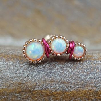Rose Gold White Opal Cartilage Piercing, Helix Earring