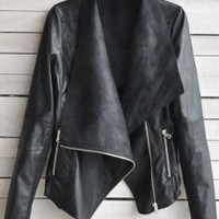 Black Long Sleeve Zippered Leather Jacket