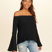 Girls Bell-Sleeve Off-The-Shoulder Waffle Top | Girls Tops | HollisterCo.com