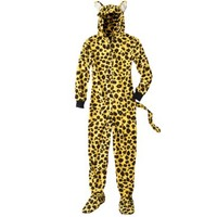 Women's Leopard Footie Pajama - Gold