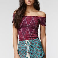 Kendall & Kylie High Rise Printed Drawstring Shorts at PacSun.com