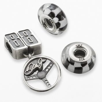 Insignia Collection Nascar Dale Earnhardt Jr. Sterling Silver ''88'' Steering Wheel Charm & Checkered Flag Bead Set (Grey)