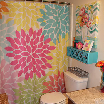 Shower Curtain Monogram Flowers CUSTOM You Choose Colors Pink Orange Lime Turquoise Flower Burst Dahlia Bathroom Bath Made in the USA