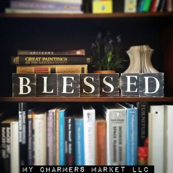 Blessed Sign, Blessed Art, Blessed Tile Letters, Blessed Wall Decor, Wooden Letter Blocks, Wood Letter Tiles, Shabby Chic Believe Sign Set