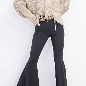Richmond Park Black Knit Bell Bottoms