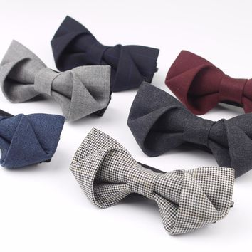 New Boxed Classical Formal 100% Wool Bow Tie Gravata Multiple Colors Houndstooth Pattern Necktie Mens Luxury Stereo Bowtie