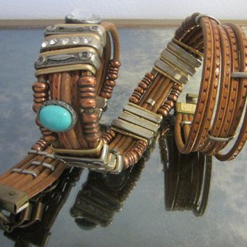 Tribal Tan Leather Belt Turquoise Rhinestone Cabochons Various Beads