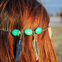 TurkishTurquoise Beaded Silver Headhain Headdress Hippie Hipster Bohemian Boho Wedding Beach Style 2013's Trend