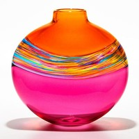 Flat Transparent Banded Vortex Salmon Florida Cranberry by Michael Trimpol Monique LaJeunesse: Art Glass Vase | Artful Home
