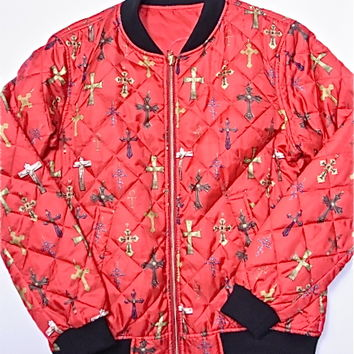 SUPREME (シュプリーム) Crosses Reversible Bomber RED cross reversible Bonn bar jacket box logo