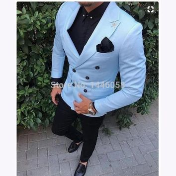 2018 Tailored Men Coat Pant Casual Double Breasted Men Slim Fit Suit Sky Blue Tuxedo Groom Blazer Wedding Suit Terno Masculino