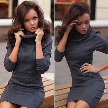 FASHION HIGH COLLAR KNITTED DRESSES