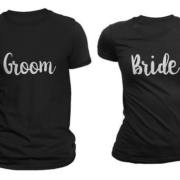 Groom & Bride Matching Couple T-shirts Black Set of 2