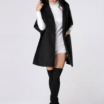Casual Hooded Plain Side-vented Poncho Woolen Coat