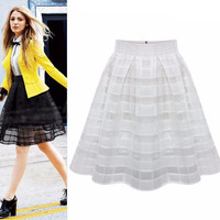 Plaid High-Waisted Chiffon Pleated Skater Skirt